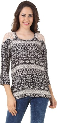 Lili Blank Casual 3/4 Sleeve Printed Women's Multicolor Top
