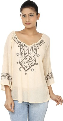 Clo Clu Casual 3/4 Sleeve Embroidered Women,s Beige Top