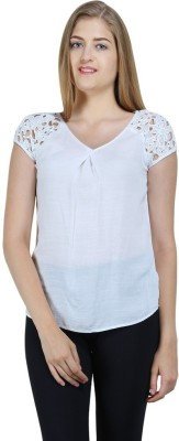 Bainy Casual Short Sleeve Solid Women,s White Top