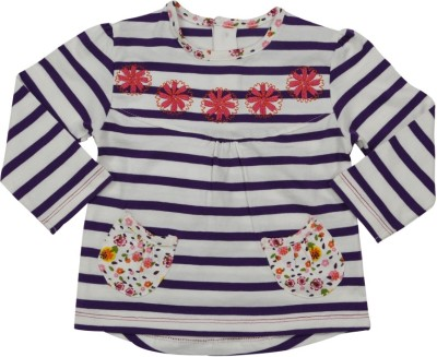 Mom & Me Casual Full Sleeve Striped Baby Girl's Purple Top