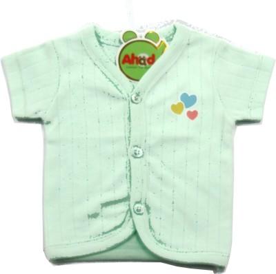 Ahad Casual Short Sleeve Solid Baby Girl's Dark Green Top