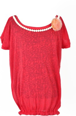 MARSHMALLOW Party Short Sleeve Solid Baby Girl's Red Top