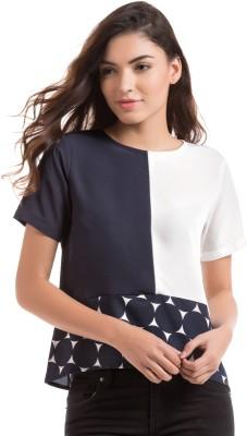 Prym Casual Short Sleeve Self Design Women's Blue Top