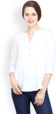 Tops and Tunics Casual 3/4 Sleeve Solid Women's White Top
