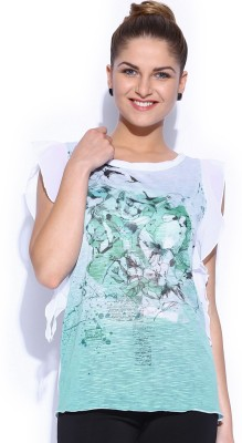 GAS Casual Short Sleeve Printed Women's Green Top