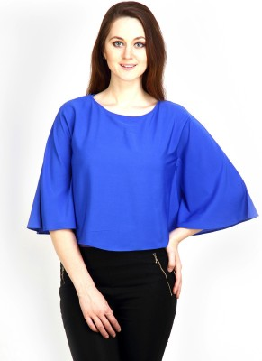 Maisha Casual Kimono Sleeve Solid Women,s Blue Top