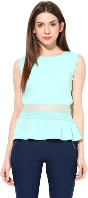 Miss Chase Party Sleeveless Solid Women's Green Top
