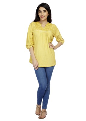True Fashion Casual 3/4 Sleeve Solid Women's Yellow Top