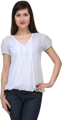 India Inc Casual Short Sleeve Solid Women's White Top