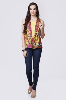 Glam & Luxe Casual Sleeveless Printed Women's Yellow Top