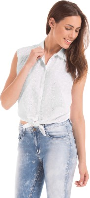 Prym Casual Sleeveless Embroidered Women's White Top