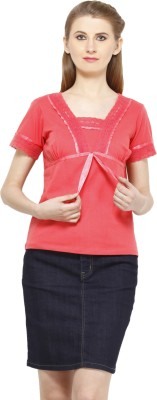 Peptrends Casual Short Sleeve Solid Women's Pink Top