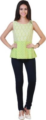 Belle Fille Casual Sleeveless Printed Women's White, Light Green Top