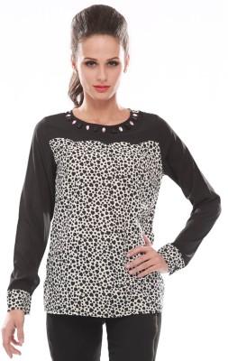Trendy Divva Casual Full Sleeve Printed Women's Black, White Top at flipkart
