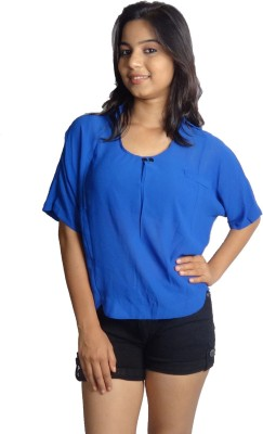 Oomph Factor Casual, Party Short Sleeve Solid Women's Blue Top