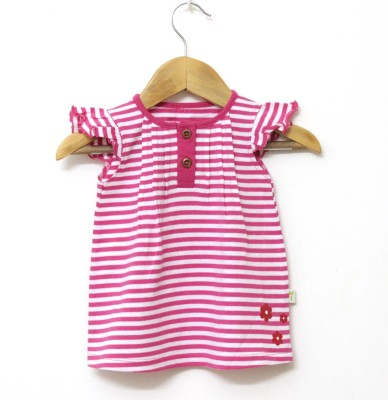 Little Green Kid Party Butterfly Sleeve Striped Girl,s Pink Top