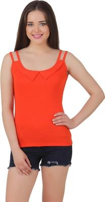 Yati Casual Sleeveless Solid Women's Orange Top