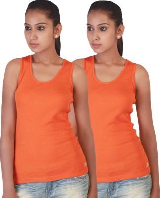 Twin Birds Casual Sleeveless Solid Women's Orange Top
