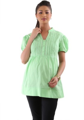Kriti Western Maternity Casual Short Sleeve Woven Women's Green Top