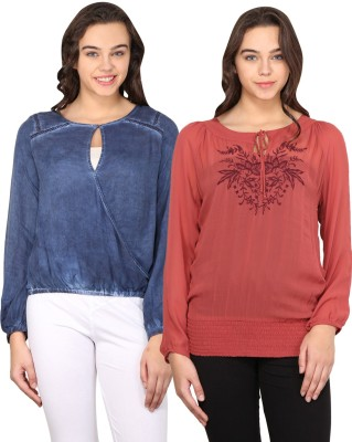 Nordic Bazaar Casual Full Sleeve Embroidered, Solid Women's Blue, Red Top