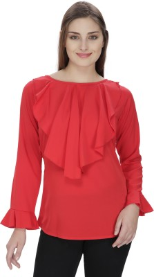Pops N Pearls Casual Full Sleeve Solid Women's Red Top