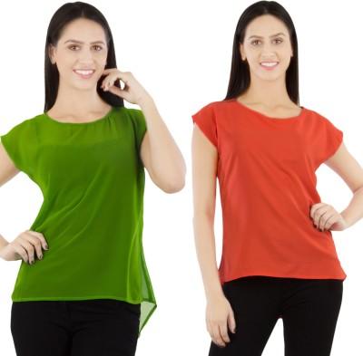 GUDS Casual Cape Sleeve Solid Women's Orange, Green Top