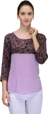 TheGudLook Casual 3/4 Sleeve Floral Print Women's Multicolor Top