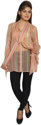 Feyona Casual Full Sleeve Printed Women's Beige Top