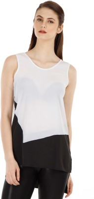 Fuziv Casual Sleeveless Printed Women's White Top