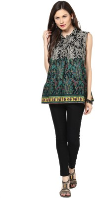 Glam & Luxe Casual Sleeveless Printed Women's Black, Green Top