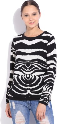 Vanheusen Casual Full Sleeve Printed Womens White, Black Top