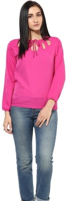 La Firangi Casual Full Sleeve Solid Women's Pink Top at flipkart