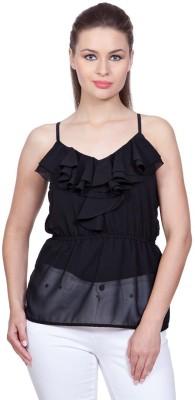 Stylestone Casual, Formal, Lounge Wear, Beach Wear, Party Sleeveless Solid Women's Black Top