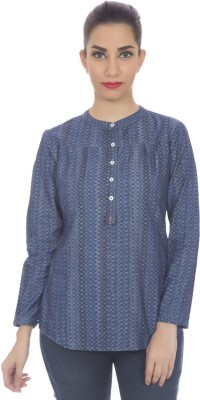 Clodentity Casual Full Sleeve Printed Women's Blue Top