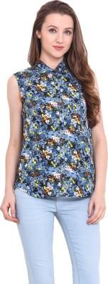 Sweet Lemon Casual Sleeveless Printed Women's Blue Top