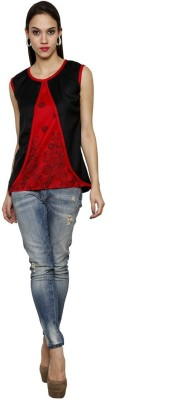 Sea Lion Casual Sleeveless Solid Women's Black, Red Top