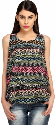 Snoby Casual Sleeveless Printed Women's Multicolor Top