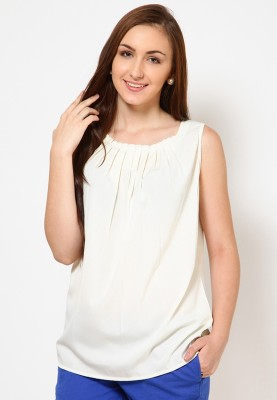 Tops and Tunics Casual Sleeveless Solid Women,s White Top