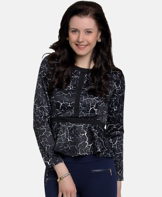 GO INDIA STORE Casual Full Sleeve Printed Girl's Black Top