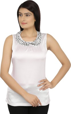 Eves Pret A Porter Casual Sleeveless Solid Women's White Top