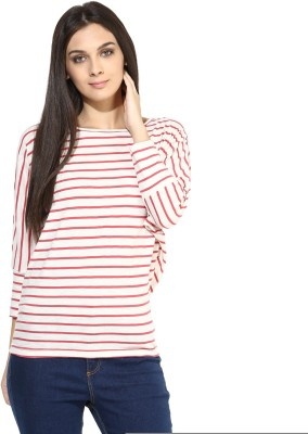Color Cocktail Casual 3/4 Sleeve Striped Women's Red Top