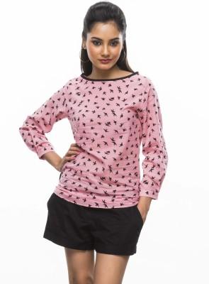 Moda Vastra Casual 3/4 Sleeve Printed Women's Pink Top