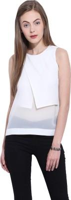 Leo Sansini Casual Sleeveless Solid Women's White Top