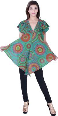 Uttam Enterprises Casual Short Sleeve Printed Women's Green Top