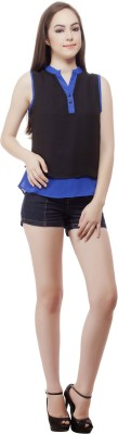 Miss Queen Casual Sleeveless Solid Women's Black, Blue Top