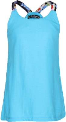 Cool Quotient Casual Sleeveless Solid Girl's Light Blue Top