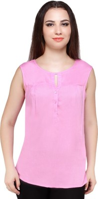 Styles Clothing Casual Sleeveless Solid Women's Pink Top
