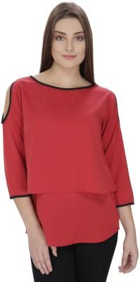Pops N Pearls Casual 3/4 Sleeve Solid Women's Maroon Top