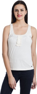 Butterfly Wears Casual Sleeveless Solid Women's White Top
