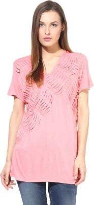 L,Elegantae Casual Short Sleeve Solid Women,s Pink Top